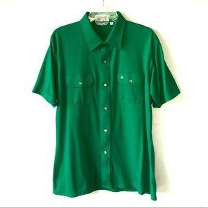 Men's Dior Green Short Sleeve Button Up Shirt